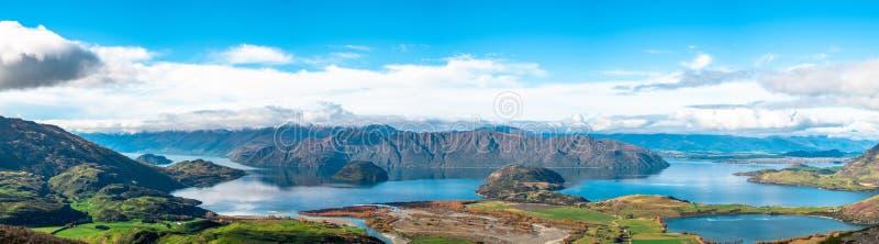 Panorama view, Lake Wanaka in autumn. View from Diamond lake track, Mt aspiring, Wanaka, New Zealand. I royalty free stock photography