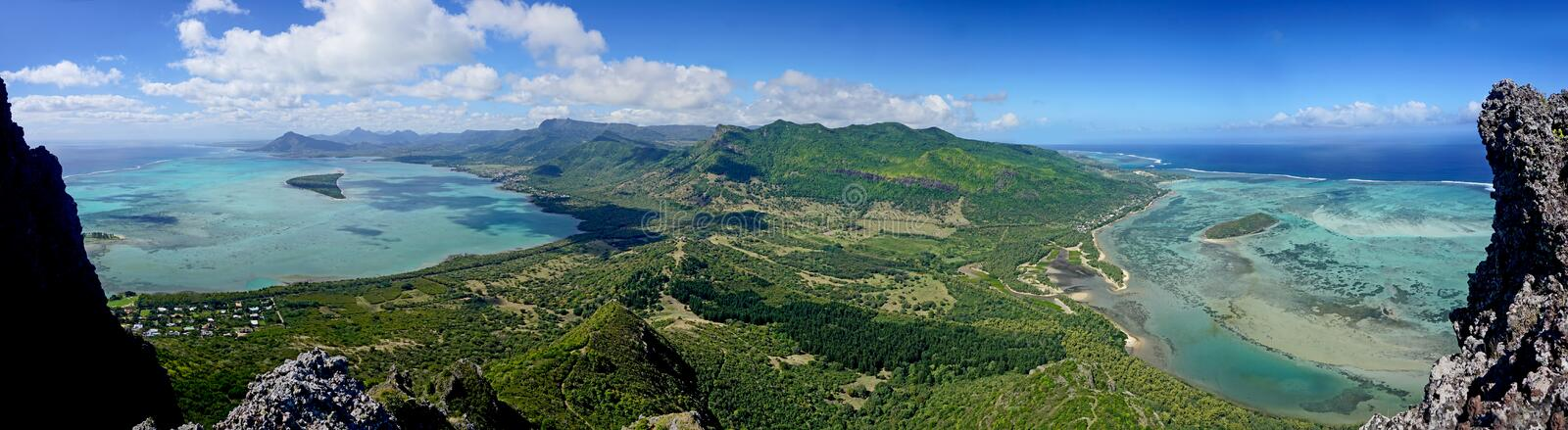 Panorama view from Le Morne Brabant mountain a UNESCO world heritage site Mauritius stock image