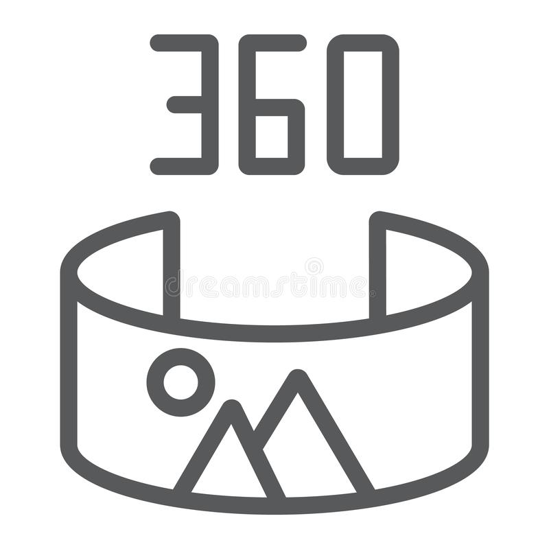 Panorama view line icon, panoramic and rotation, 360 degree sign, vector graphics, a linear pattern on a white royalty free illustration