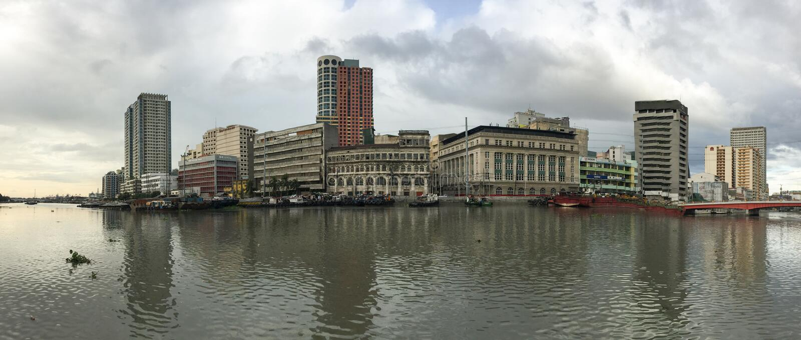 Panorama view of Manila, Philippines. Many tall buildings in Manila, Philippines. Manila, the capital of the Philippines, is a densely populated bayside city on royalty free stock images
