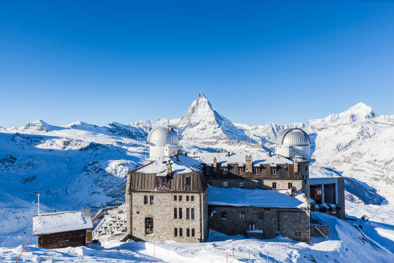 Panorama view of Matterhorn Massive from Gornergrat stock photos