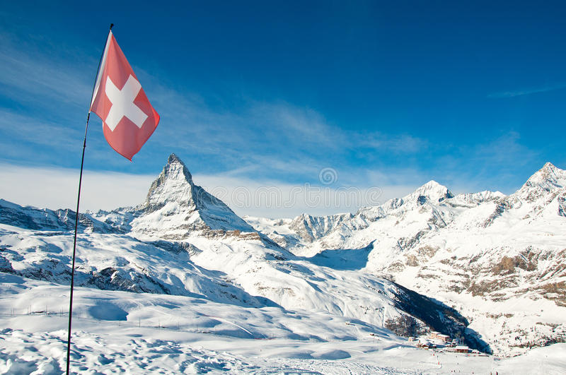 Download Panorama View Of Matterhorn And Swiss Flag Stock Photo - Image: 28883632