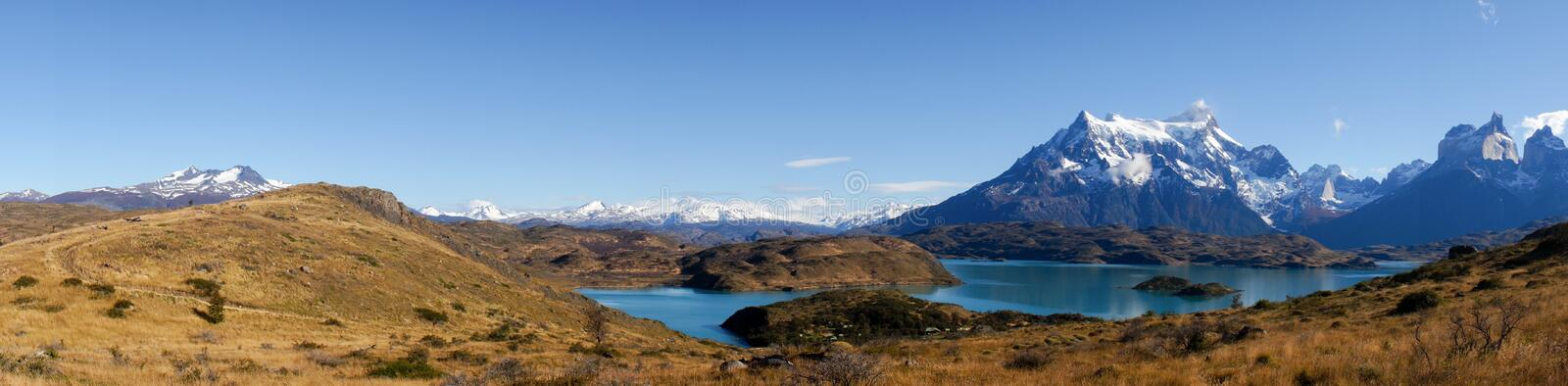 Panorama View from Mirador Pehoe towards the Mountains in Torres del Paine, Patagonia, Chile. stock images