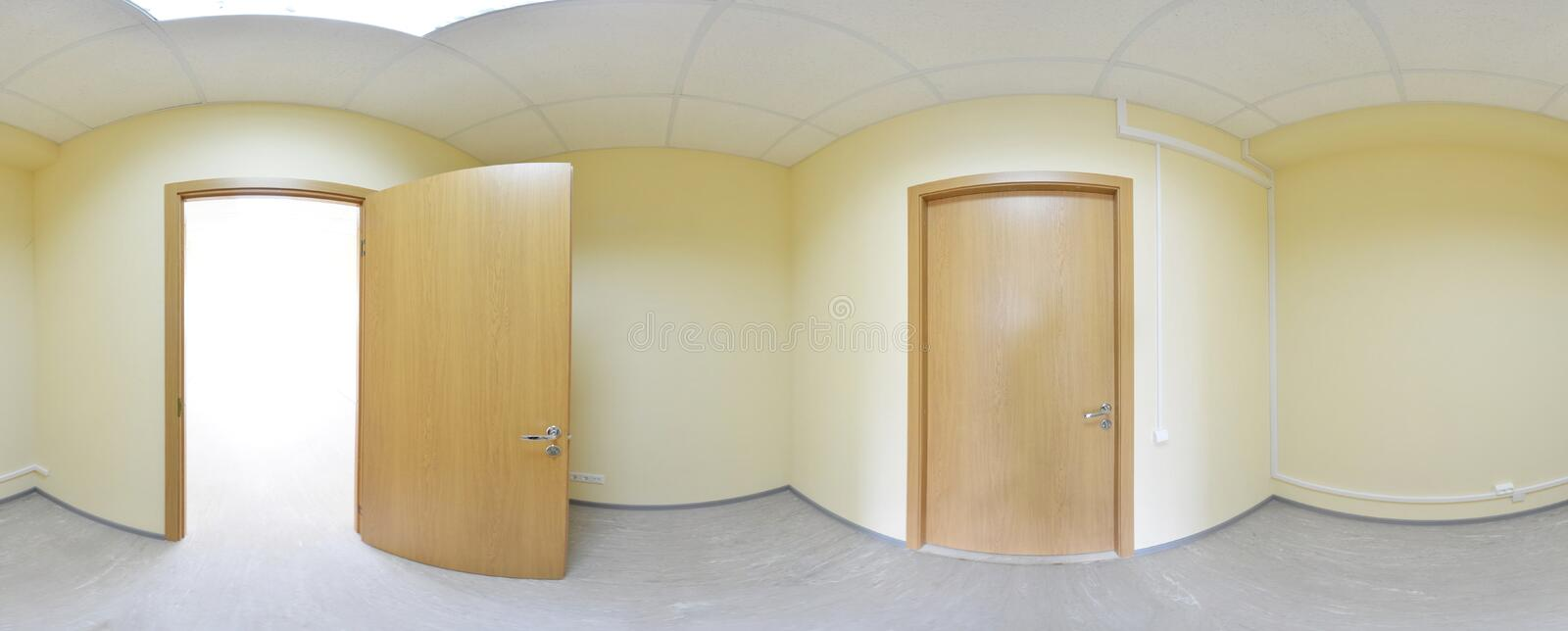360 panorama view in modern empty apartment interior, degrees seamless panorama. stock photo