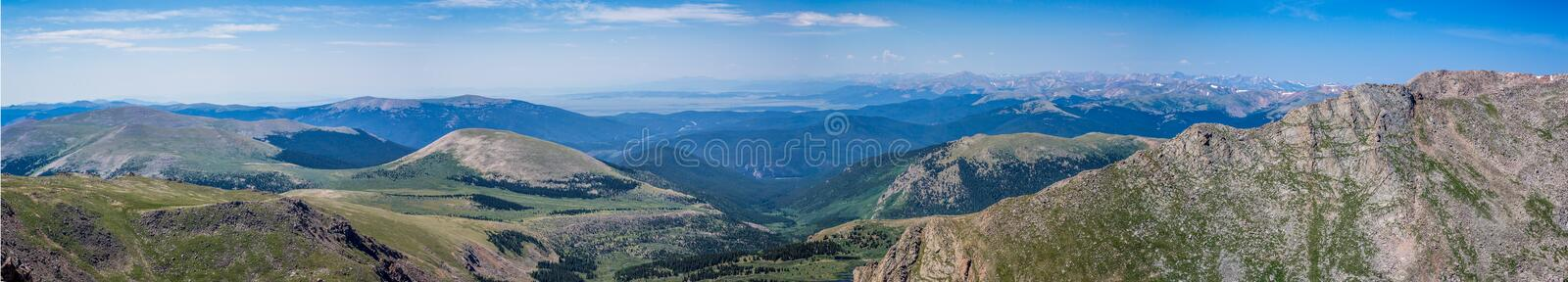 Panorama of view from Mount Evans at 14,000 feet stock image
