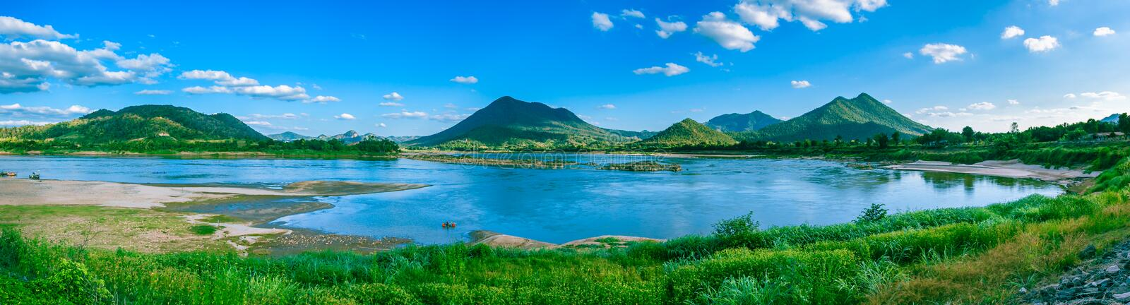 Panorama view of mountain. stock photo