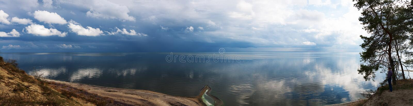 Panorama view nature landscape water sky. Clouds blue royalty free stock photo