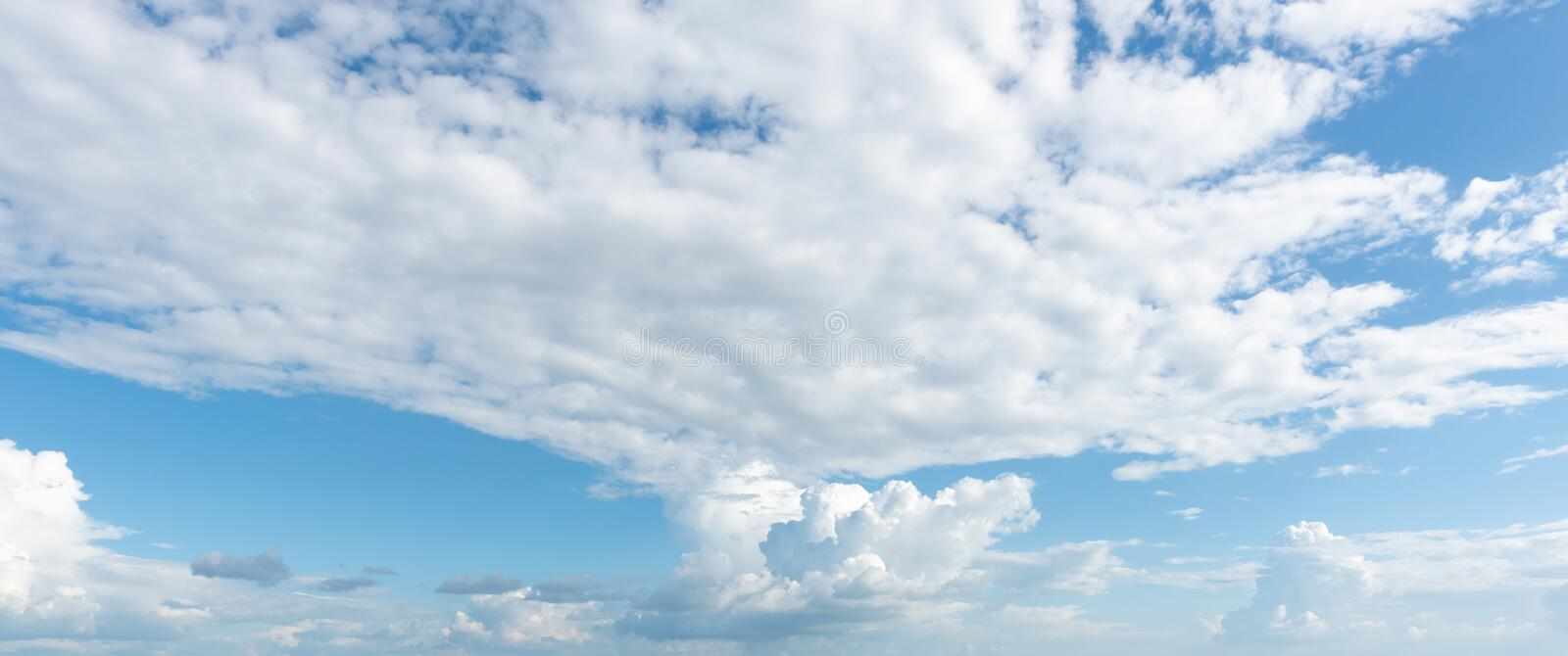 Panorama view of nature sky with clouds stock photography