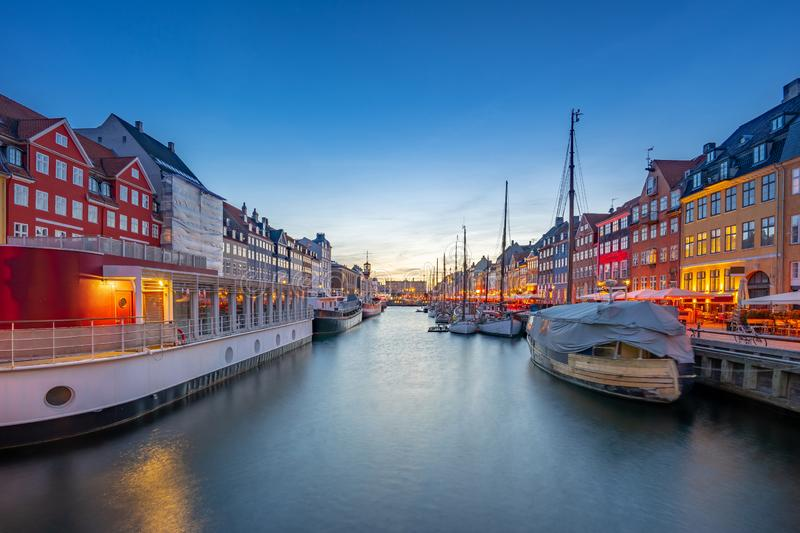 Panorama view of Nyhavn landmark in Copenhagen city, Denmark.  stock photo