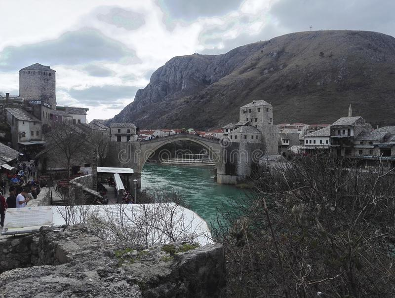 Panorama view of old town of Mostar, old bridge in background, Bosnia an Herzegovina stock images