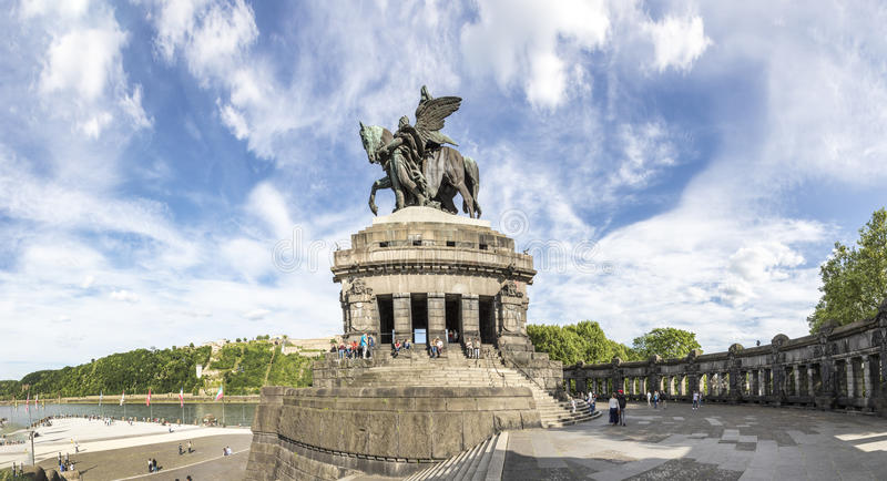 Panorama view over the plaza at the German corner/ Deutsches Eck, people visit the monument of Kaiser Wilhelm stock photography