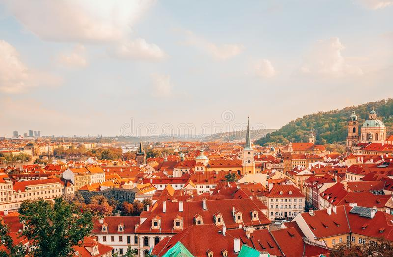 Panorama view over red roofs from Hradczany Castle in Prague. stock image