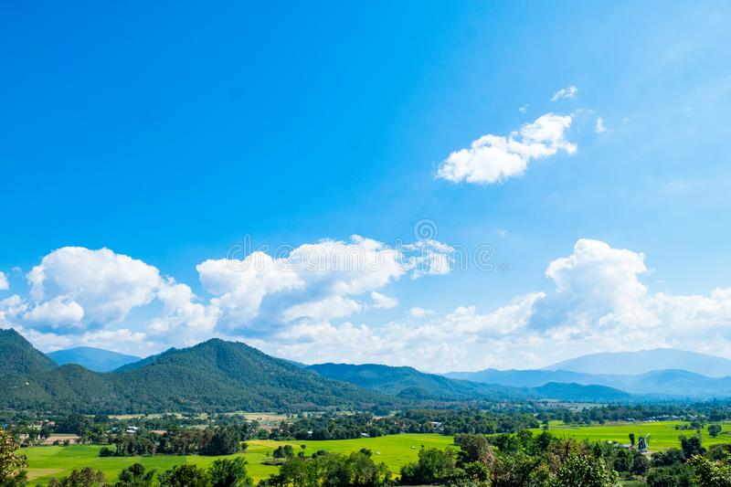 View of Pai mountain range Mae Hong Son, Thailand. Panorama View of Pai mountain range Mae Hong Son, Thailand royalty free stock images