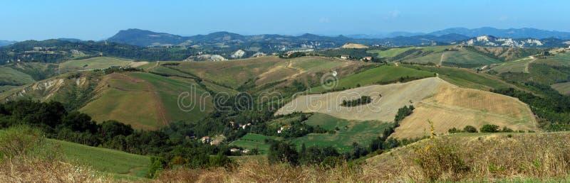 Panorama view of Parco dei Gessi. Farneto, San Lazzaro di Savena, Bologna, Italy royalty free stock image