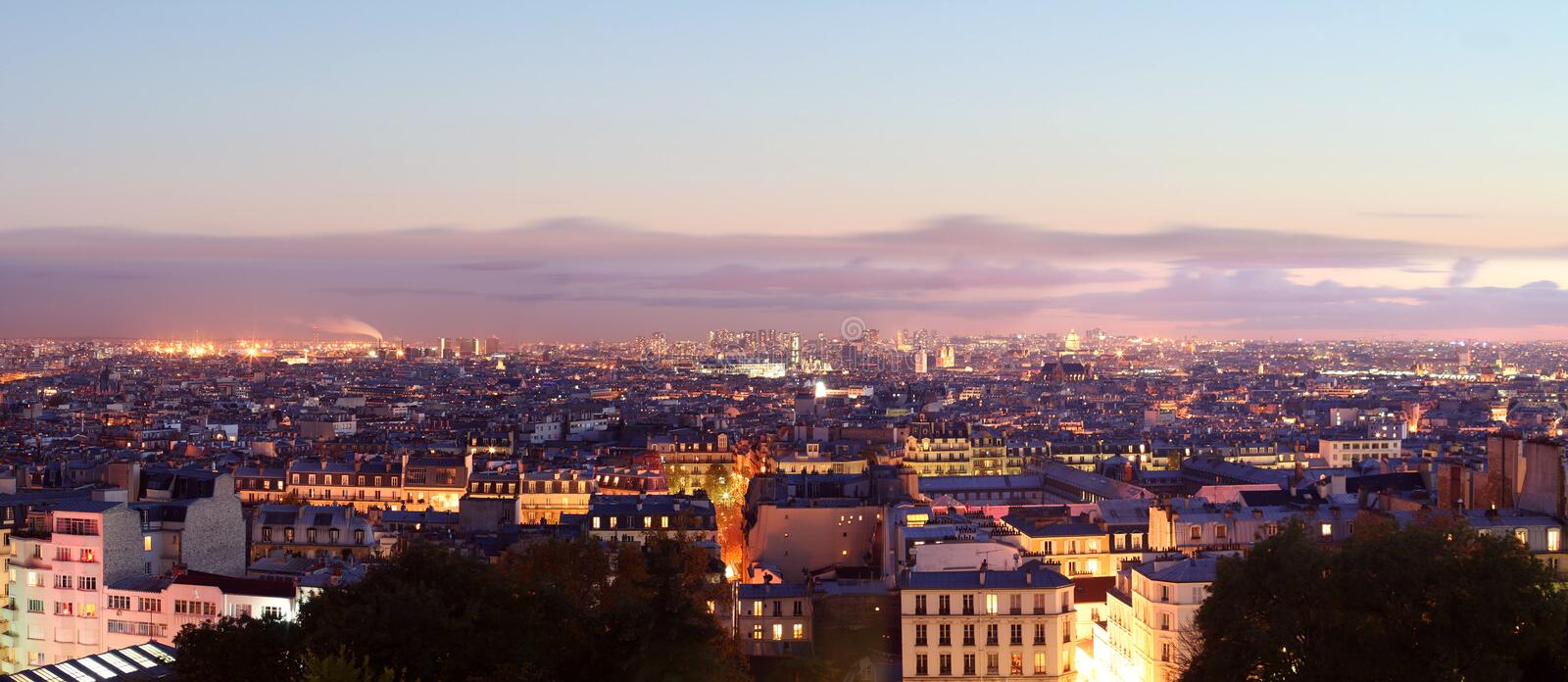 Panorama View of Paris by night stock photography