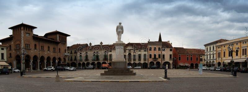 Panorama view of Piazza Duomo, main square of Montagnana, Padua, Italy stock photography