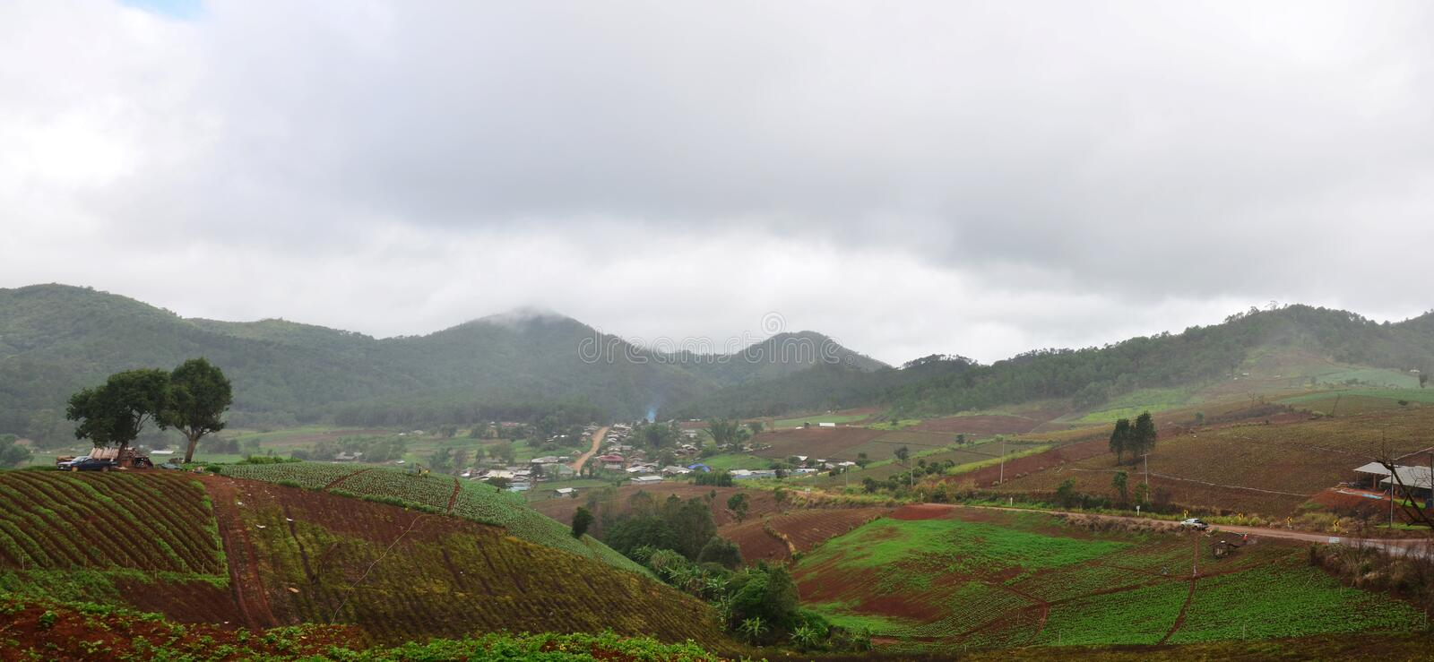 Panorama View point at, Mae Hong Son Province of North Thailand stock photo