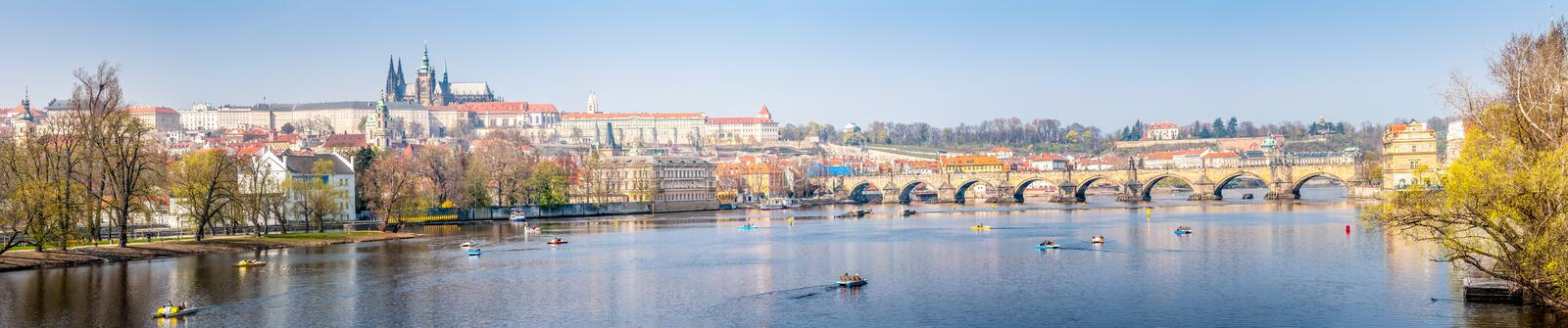 Panorama view of Prague Castle and the Vltava river royalty free stock photography
