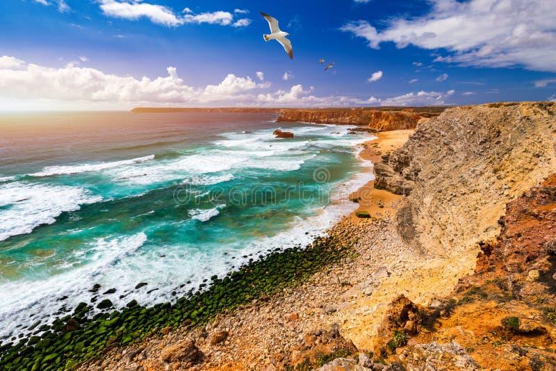 Panorama view of Praia do Tonel (Tonel beach) in Cape Sagres, Algarve, Portugal. Seagulls flying over Praia Do Tonel, beach. Located in Alentejo, Portugal stock photos
