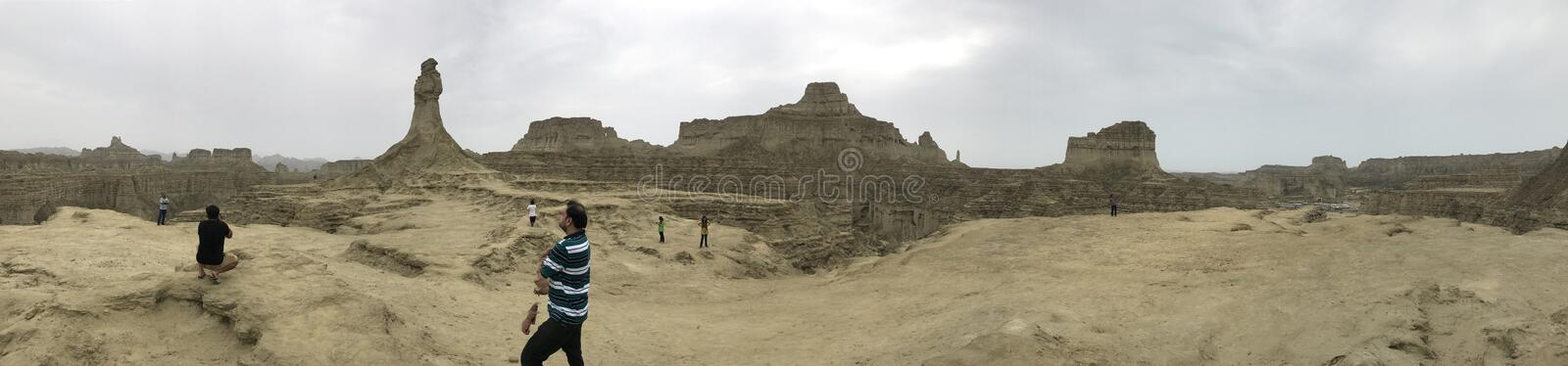 360 Panorama View Princess of Hope and Great Sphinx Hingol National Park stock photo