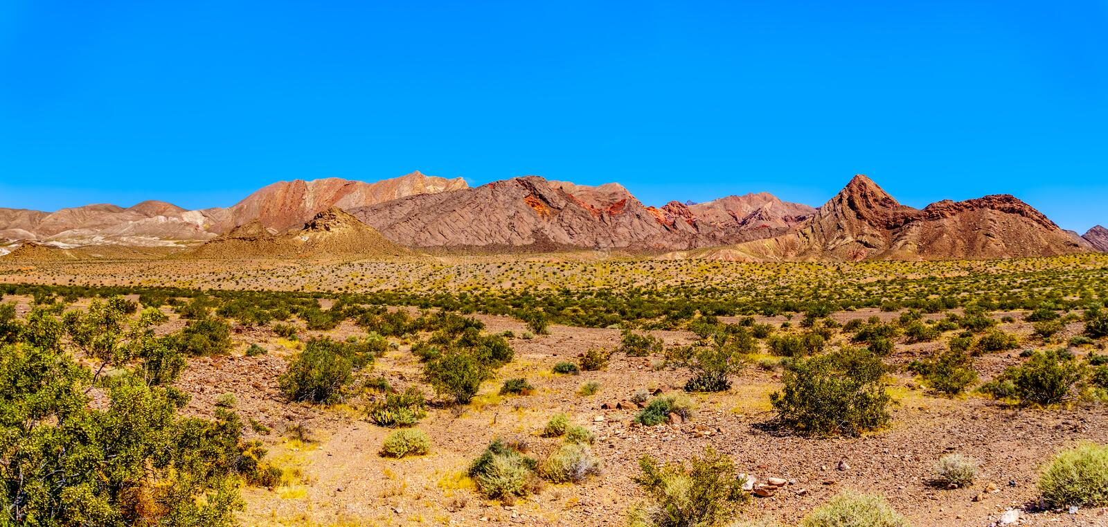Panorama view of Rugged and Colorful Mountains along Northshore Road SR167 in Lake Mead National Recreation Area royalty free stock photography