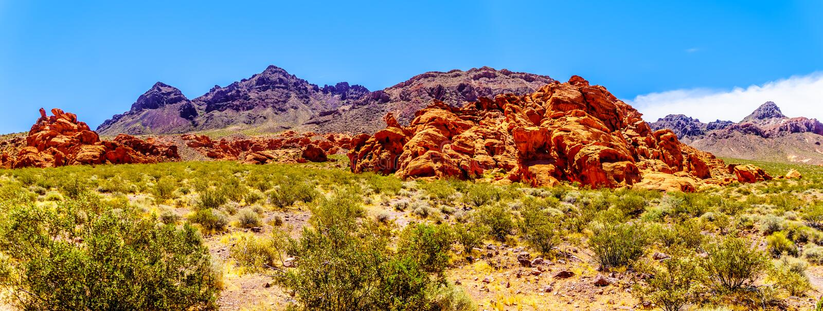 Panorama view of the Rugged and Colorful Mountains along Northshore Road SR167 in Lake Mead National Recreation Area royalty free stock photos