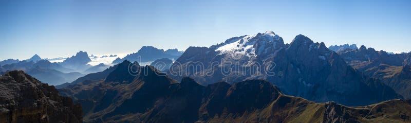 Panorama view Saas Pordoi Dolomites stock photography