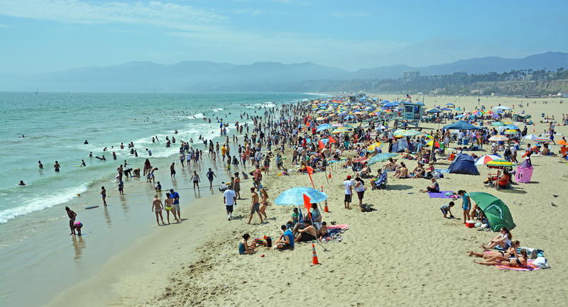Panorama View of Santa Monica Beach on a Hot Summer Afternoon. stock photo