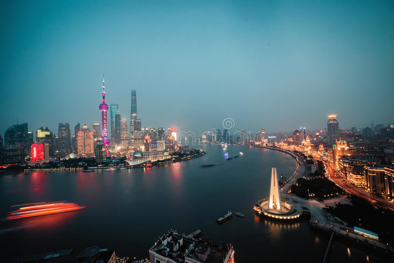 Panorama view of Shanghai city scape at night time. Aerial. Panorama view of Shanghai city scape at night time stock photos