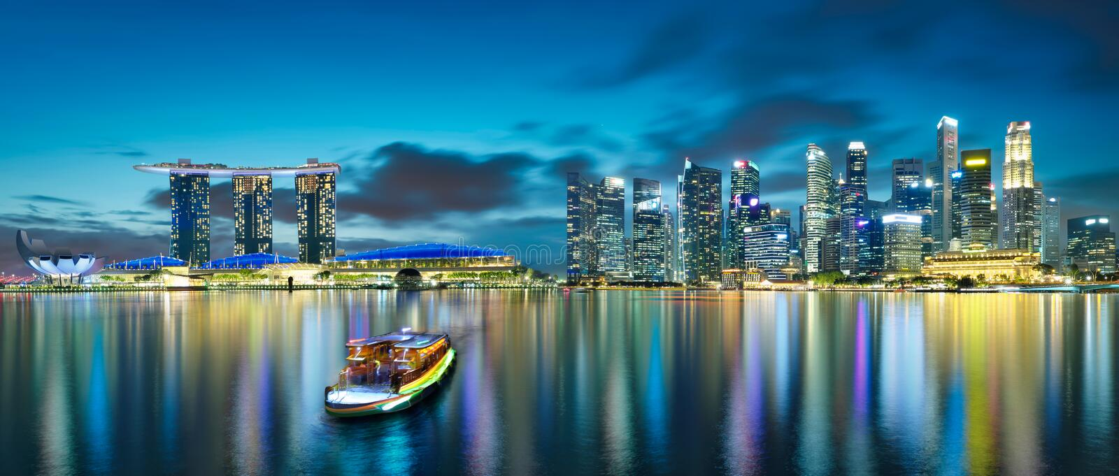 Panorama view of Singapore cityscape skyline. Night scene stock photography