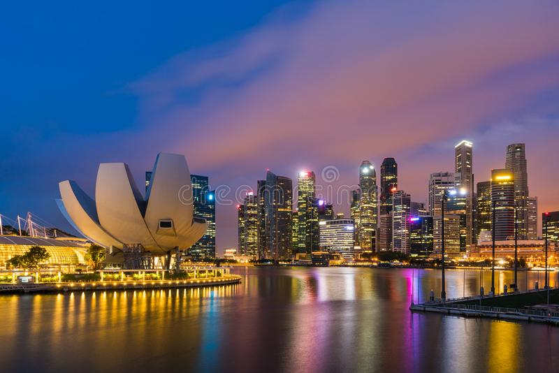 Singapore financial district skyline at night, Singapore royalty free stock images