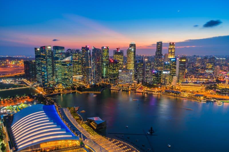 Panorama view of Singapore financial district skyline at night, Singapore royalty free stock photo
