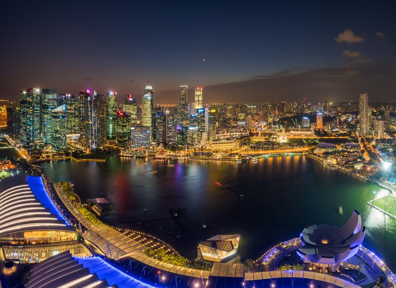 Panorama view of Singapore financial district skyline at night, Singapore royalty free stock images