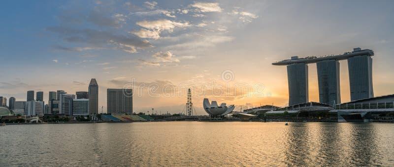 Panorama view of Singapore Marina bay skyline at sunrise, Singapore royalty free stock photo