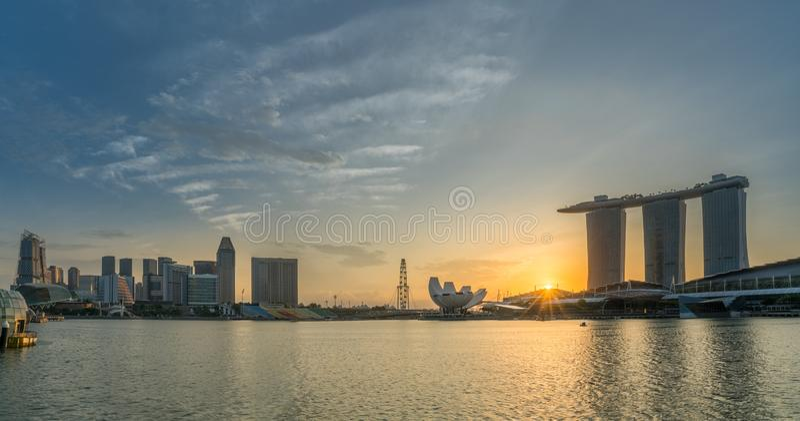 Panorama view of Singapore Marina bay skyline at sunrise, Singapore stock photography