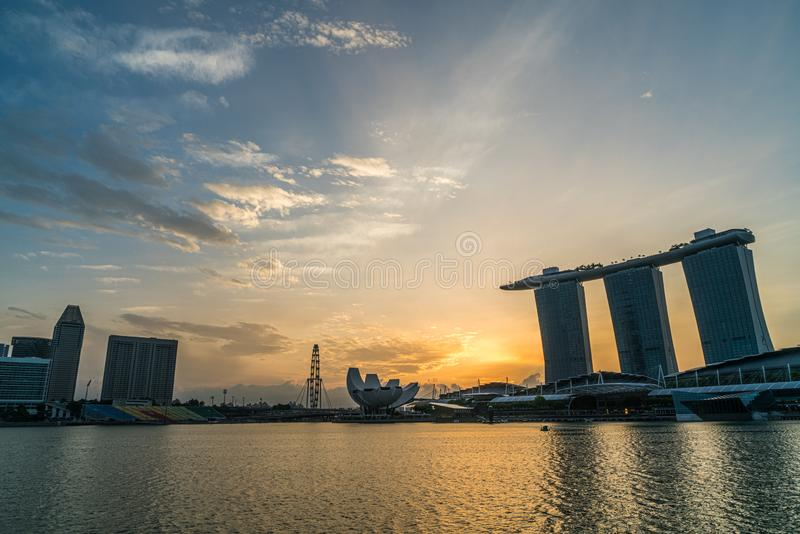 Singapore Marina bay skyline at sunrise, Singapore stock photography