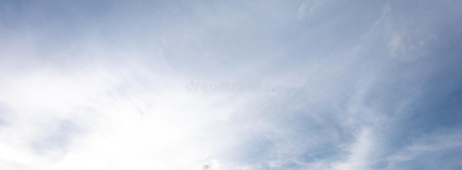 Panorama view of sky background with blue white cloud light brig stock photography