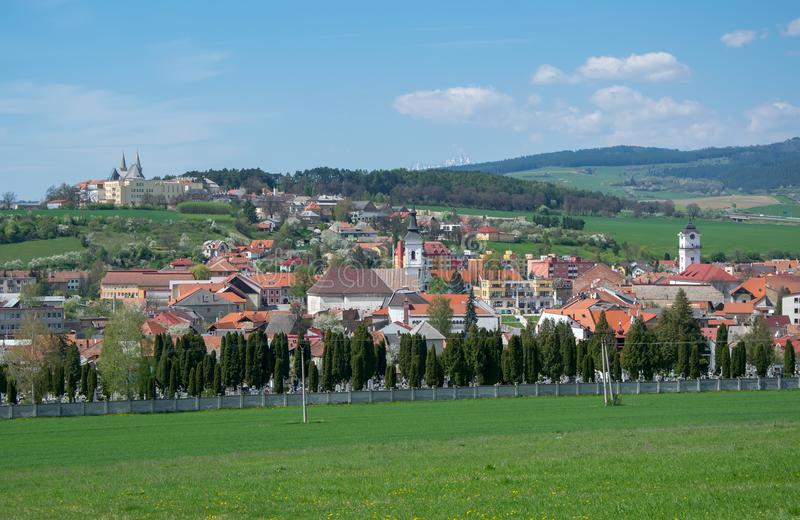 Panorama view of Spisske Podhradie town, Slovakia. View from Spis Castle - Spissky Hrad royalty free stock photo