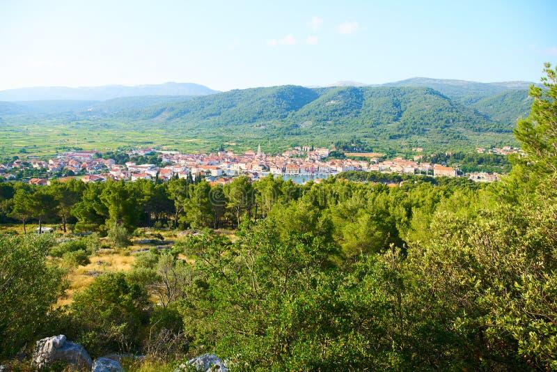 Panorama view of Stari Grad. Town from White cross hill, Hvar, Croatia royalty free stock photo
