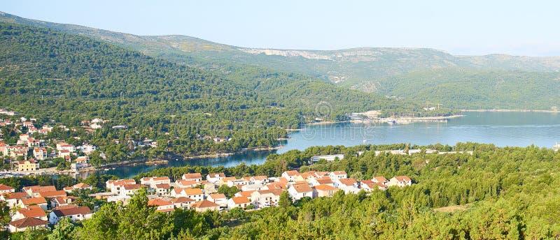 Panorama view of Stari Grad. Town from White cross hill, Hvar, Croatia stock photos