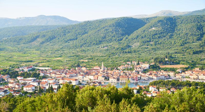 Panorama view of Stari Grad. Town from White cross hill, Hvar, Croatia stock photo