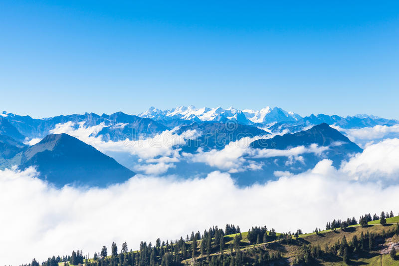 Panorama view of the swiss alps royalty free stock images
