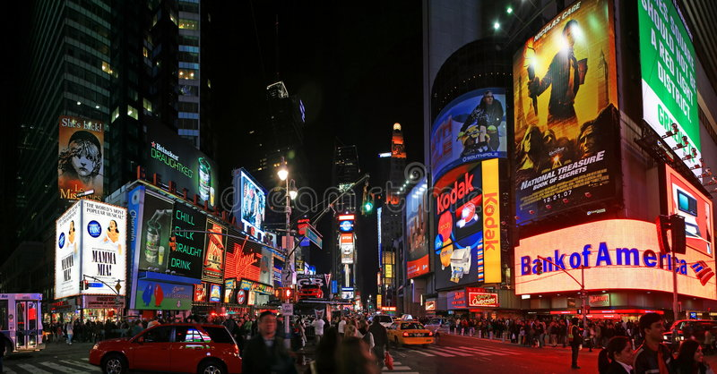 Panorama view of Times Square. The panorama view of Times Square in New York City royalty free stock photo