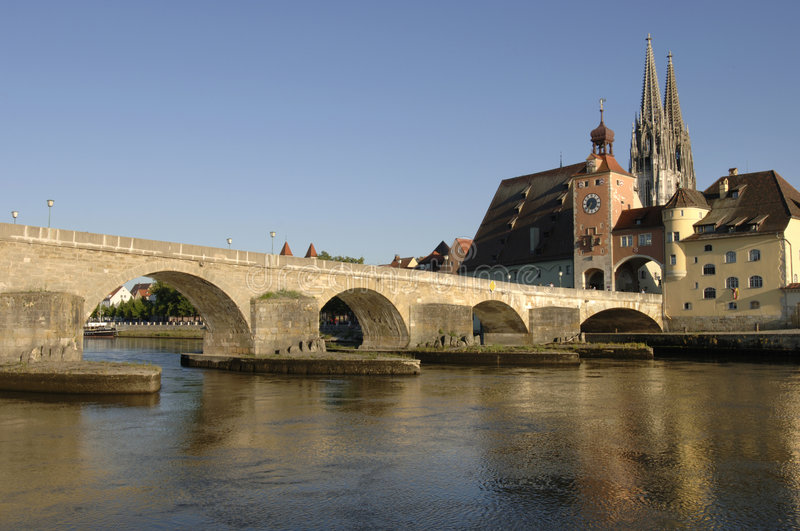 A Panorama View To German Town Regensburg Royalty Free Stock Images