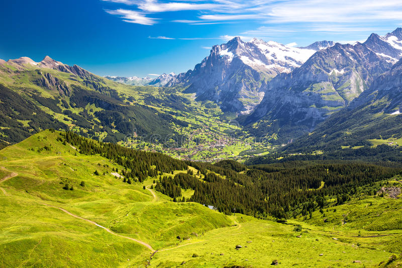 Panorama view to Grindelwald from Mannlichen stock photo