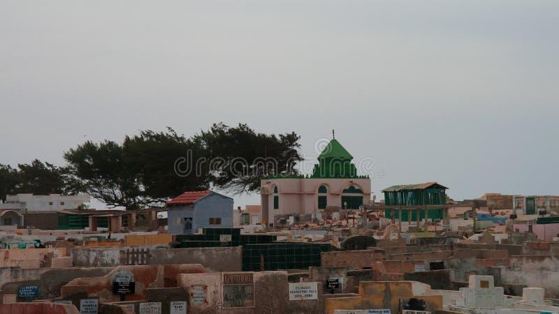 Panorama view to muslim Cemetery, Saint-Louis, senegal stock images