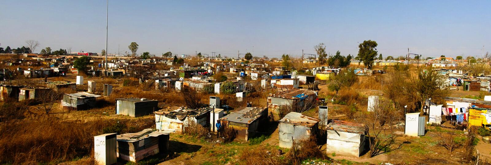 Panorama view to soweto favela outskirt of Johannesburg, South Africa. Panorama view to soweto favela outskirt of Johannesburg inSouth Africa stock images
