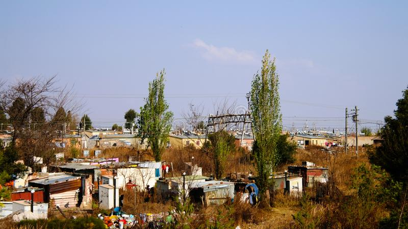 Panorama view to soweto favela outskirt of Johannesburg, South Africa. Panorama view to soweto favela outskirt of Johannesburg inSouth Africa stock photo