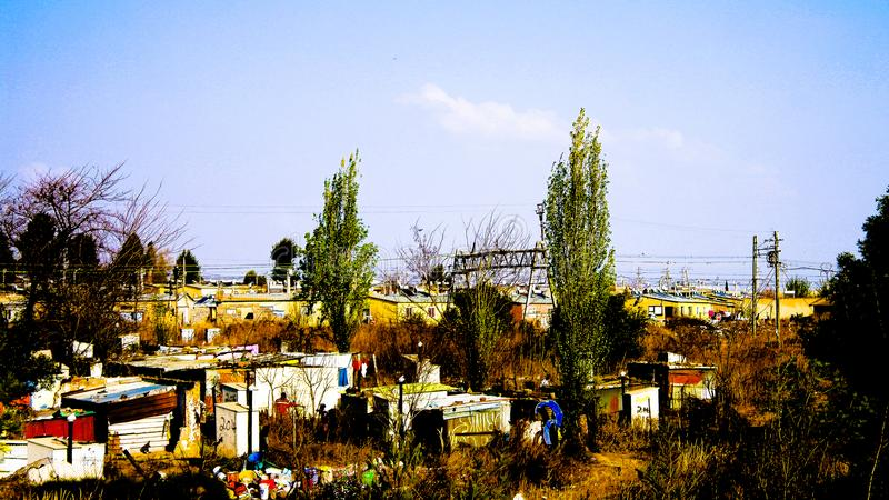 Panorama view to soweto favela outskirt of Johannesburg, South A. Panorama view to soweto favela outskirt - 25 august 2013 Johannesburg in South Africa royalty free stock image