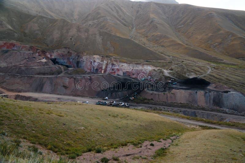 Panorama view to Tian Shan mountain and Coal Mine Kara-Keche, Naryn Province, Kyrgyzstan royalty free stock image